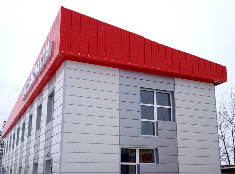 Отделка фасада магазина сайдингом фото